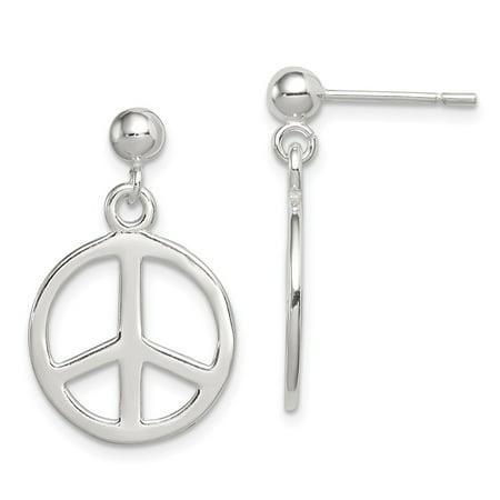925 Sterling Silver Peace Sign Dangle Earrings (23mm x (Sterling Peace Sign Earrings)