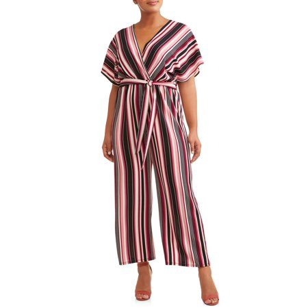 Juniors' Plus Size Striped Jumpsuit (Plus Size Jumpsuits For Cheap)