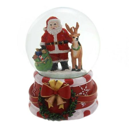 Christmas MUSICAL CHRISTMAS SNOWGLOBE Polyresin Santa Deer Presents J3262 Santa ()
