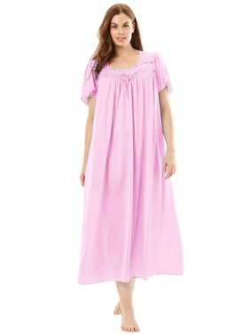Only Necessities Plus Size Long Silky Lace-trim Gown
