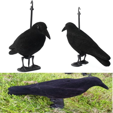 Flocked Crow Decoy Full Body Whole  Raven Shooting Hunting + Feet + Stand Stake Gift Costume US