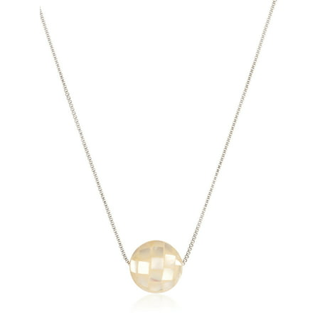 Mother of Pearl Bead Stainless Steel Necklace (1mm) - 18