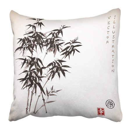 ARHOME Bamboo Trees with Ink in Traditional Japanese Painting Sumi E Contains Hieroglyph Pillow Case Cushion Cover 20x20 inch