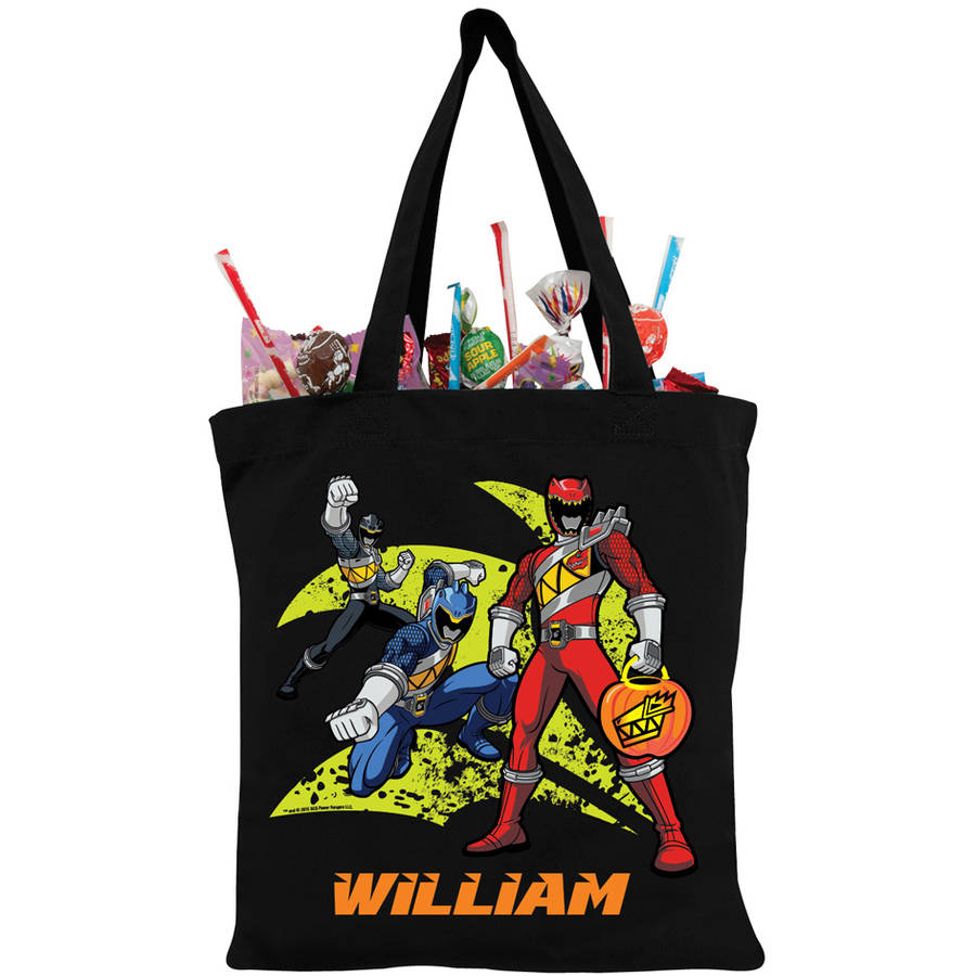 Personalized Power Rangers Dino Charge Black Trick-or-Treat Bag