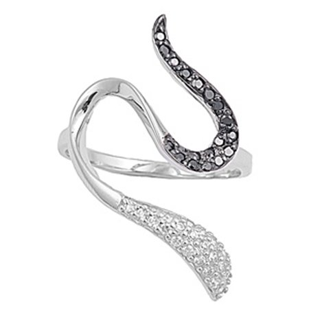 Snake Black Simulated CZ Micro Pave Wave Ring ( Sizes 5 6 7 8 9 10 ) New .925 Sterling Silver Band Rings by Sac Silver (Size 6) Pave Snake Ring