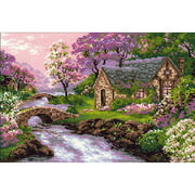 """Spring View Counted Cross Stitch Kit, 15"""" x 10.25"""", 14 Count"""