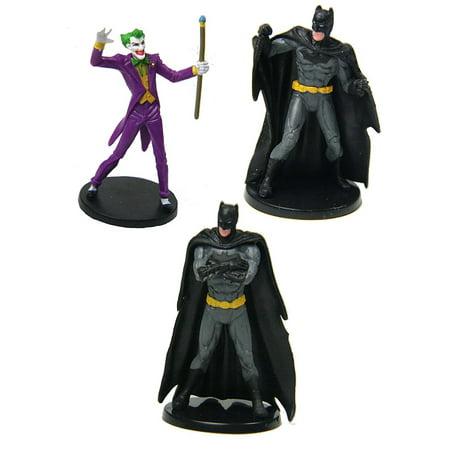 Batman, Joker, Batman - 3 DC Comics Super Heroe and Villain Figurines - Cake Toppers