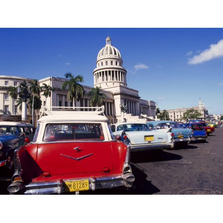 - Street Scene of Taxis Parked Near the Capitolio Building in Central Havana, Cuba, West Indies Print Wall Art By Mark Mawson