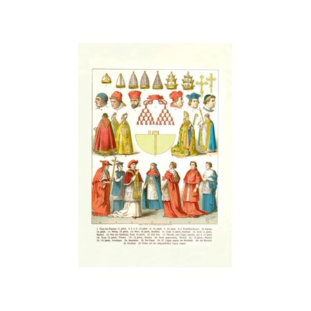 Clergy Vestments (French Clergy Headwear And Vestments Print (Unframed Paper Print)