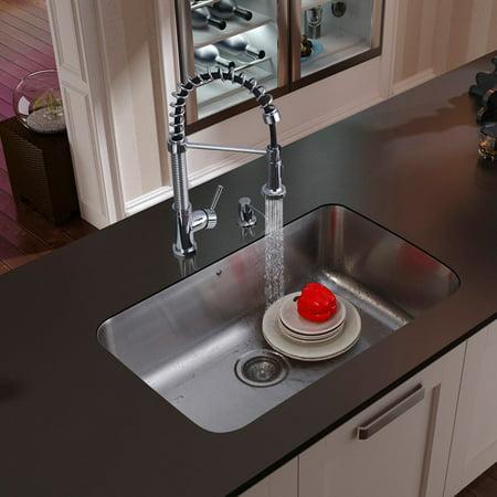 Vigo Undermount Stainless Steel Kitchen Sink  Faucet  Strainer And Dispenser