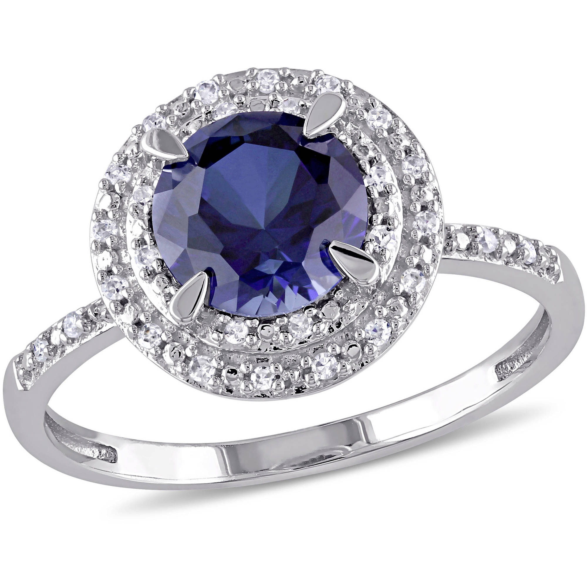 Tangelo 1-5 8 Carat T.G.W. Created Blue Sapphire and 1 10 T.W. Diamond 10kt White Gold Halo Engagement Ring by Tangelo
