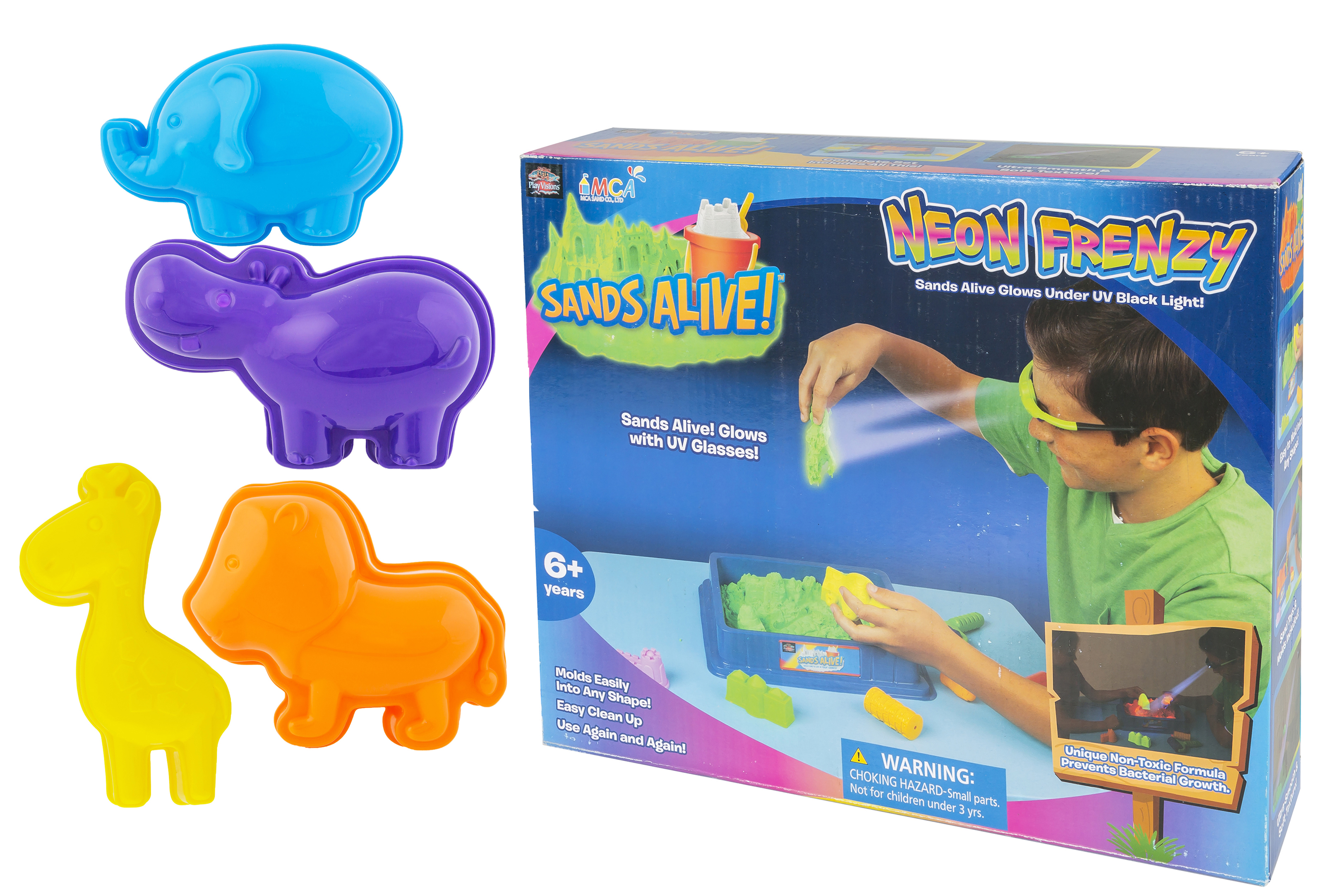 Sands Alive Play Visions Neon Frenzy with Kipp Brothers Animal Sand Molds
