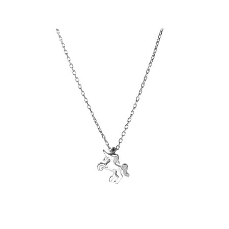 Lux Accessories Silver Tone Simple Fancy Unicorn Plated Charm Chain Necklace (Unicorn Necklace)