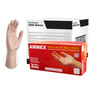 AMMEX Anti-Microbial Vinyl Latex-Free Industrial Gloves, Small, Clear, 2000/Case