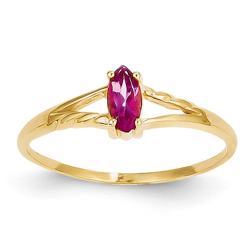 14k Yellow Gold 6x3 Marquise Pink Tourmaline Birthstone Ring by Jewelrypot