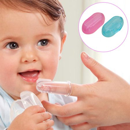 Baby Toothbrush Food Grade Silicone Finger Toothbrush for Baby & Toddlers Toothbrush Teether and Oral Massager - image 1 de 5