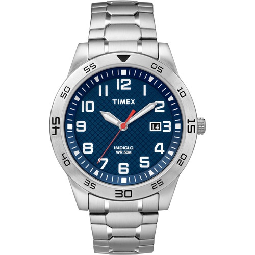Timex Men's Fieldstone Way Blue Dial Watch, Stainless Steel Expansion Band