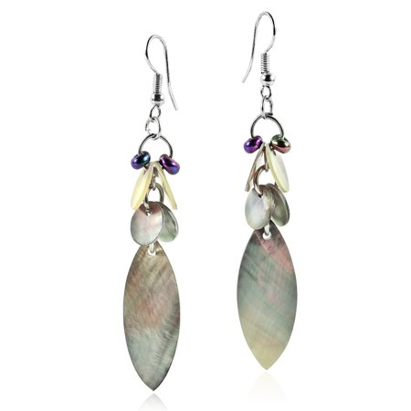 Beach Inspired Grey Mother of Pearl Seashell & Bead Cluster Dangle Earrings