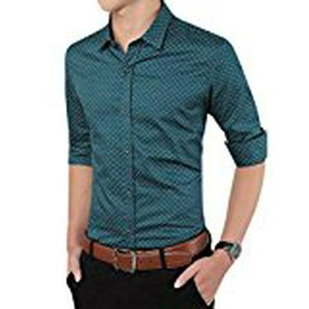 Young Horse Men 100% Cotton Print Slim Fit Button-Down Dress Shirt Color:Green Size:L