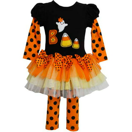 Girls Halloween Outfit : Orange Black Candy Corn Boo Girls Tutu Set 6X - College Girl Halloween Outfits