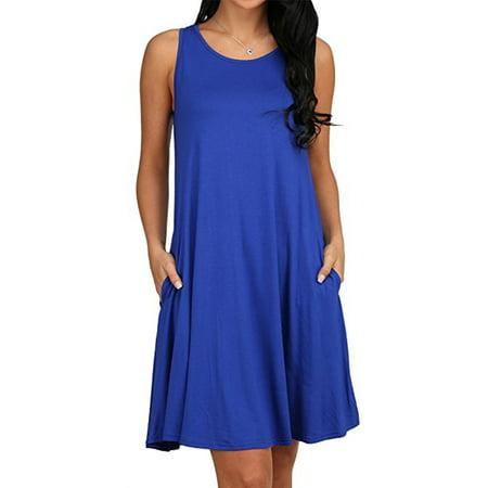DYMADE Women's Tunic Pockets Casual Swing Sleeveless Plain Loose Dress