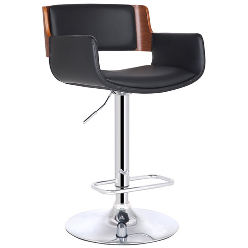 Adeco Trading Bentwood Adjustable Height Swivel Bar Stool