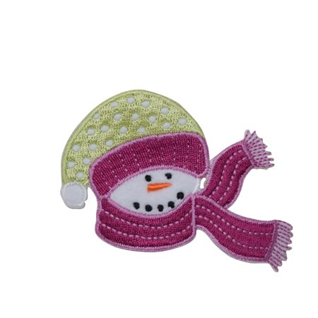 Snowman with Fuschia Scarf Iron on Embroidered Patch - Snowman With Scarf