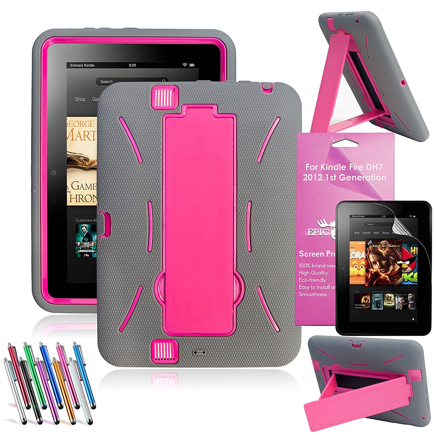 Amazon Kindle Fire HD 7 [2012 Released] EpicGadget™ Shockproof Heavy Duty Rugged Impact Hybrid Case with Build In I Kickstand Protective Cover + Screen Protector + Stylus (I Stand Gray/Pink)