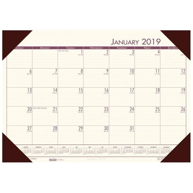 House of Doolittle HOD124641 Compact Desk Pad Calendar, Brown Holder & Cream Paper