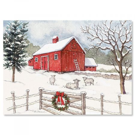 Country Barn Christmas Cards- Set of 18 Holiday Greeting Cards
