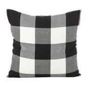 """Saro Lifestyle Buffalo Check Plaid Design Throw Pillow Black 20"""" x 20"""" Cover Only"""