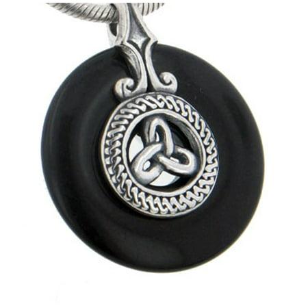 Sterling Silver Celtic Triskele Knot on Black Onyx Disc Slide (Sterling Silver Hammered Disc Pendant)