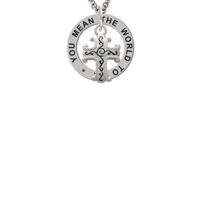 Scroll Cross with Antiqued Decoration You Mean The World To Me Affirmation Ring Necklace