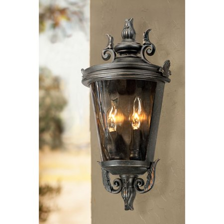 "Image of ""John Timberland Traditional Outdoor Light Fixture Veranda Bronze Scroll 17"""" Champagne Hammered Glass for Exterior Porch"""