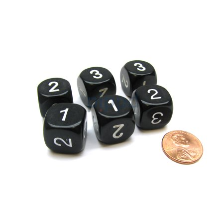 Three Man Dice (Opaque 16mm D3 Chessex Dice, 6 Pieces (D6 with 1-2-3 Twice) - Black with)