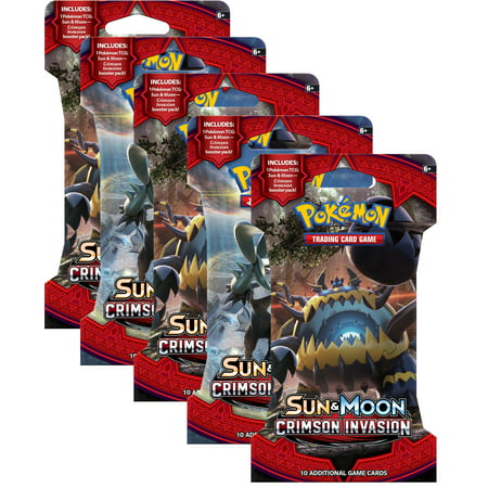 Pokemon Sun and Moon Crimson Invasion 5 Blistered Booster (Best Pokemon Red Lineup)