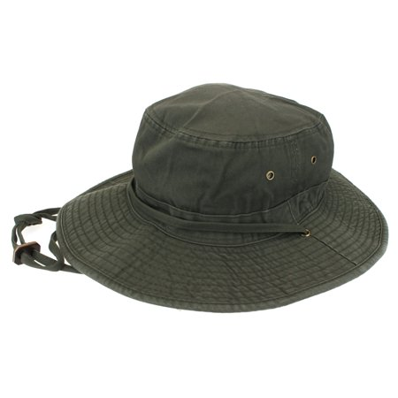 Classic Mens Fishermans Cotton Twill Bucket Hat Army Green Small (7-1/8) - Small Top Hats
