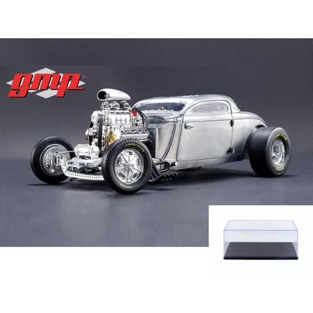 Diecast Car & Display Case Package - 1934 Blown Altered Coupe Raw Steel, Silver - GMP 18880 - 1/18 Scale Diecast Model Toy Car w/Display -