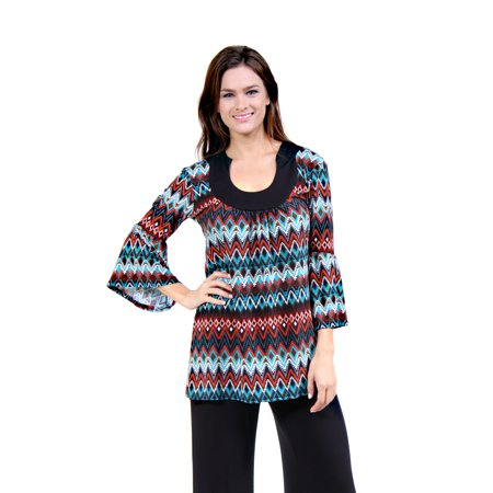 24/7 Comfort Apparel Women's Earthy Chevron Stripe Printed (Burton Womens Print)