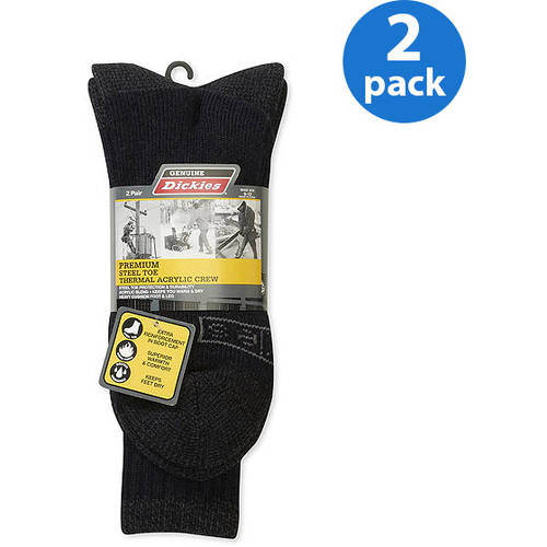 Dickies - Men's Thermal Steel Toe Crew Socks, 2-Pack