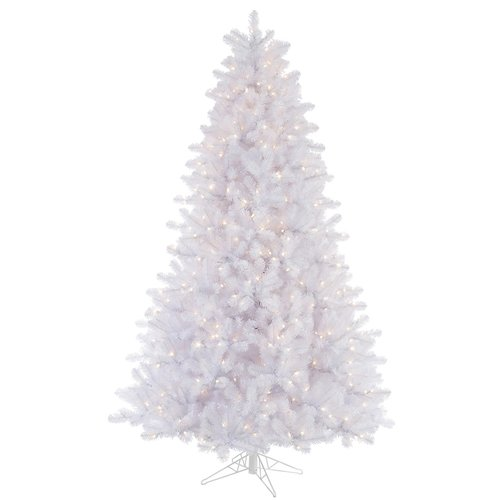 The Holiday Aisle 7.5' Crystal White Pine Artificial Christmas Tree 650 LED Multi Colored Dura-Lit Lights with Stand