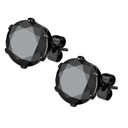 Stainless Steel Black IP Plated CZ Simulated Diamond Stud Earrings for Men ()