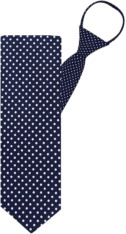Boys 14 inch Pre Made Dot Fashion Designer Dots Zipper Necktie