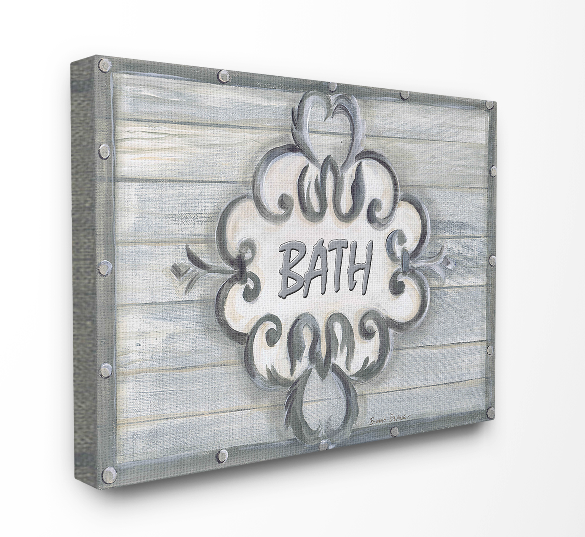 The Stupell Home Decor Collection Bath Grey Bead Board with Scroll Plaque Bathroom Stretched Canvas Wall Art, 16 x 1.5 x 20