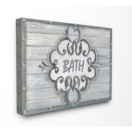 The Stupell Home Decor Collection Bath Grey Bead Board with Scroll Plaque Bathroom Stretched Canvas Wall Art, 16 x 1.5 x