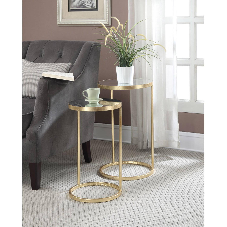 Convenience Concepts Gold Coast Round Nesting Mirror End Tables, Antique Golden