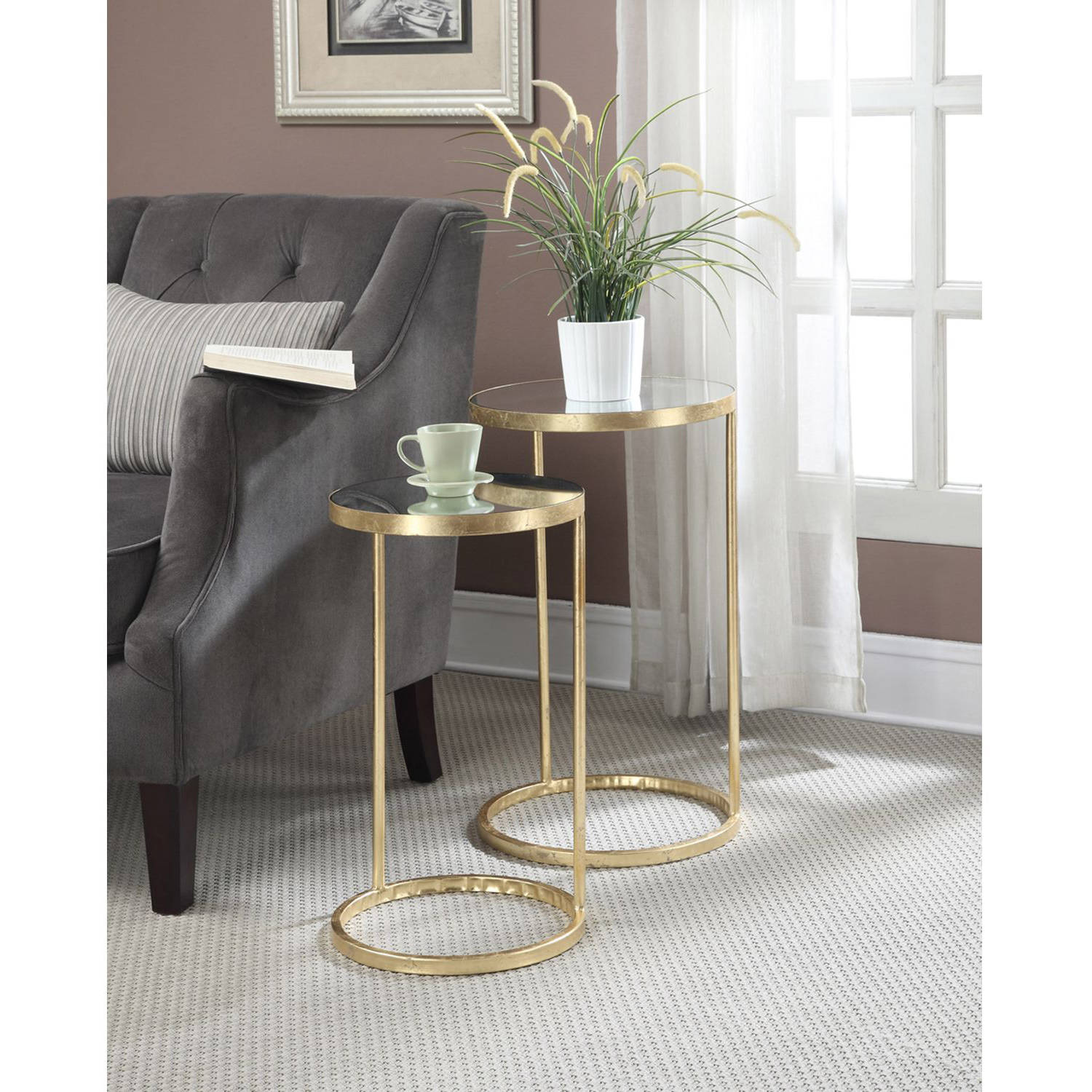 Convenience Concepts Gold Coast Round Nesting Mirror End Tables, Antique Golden