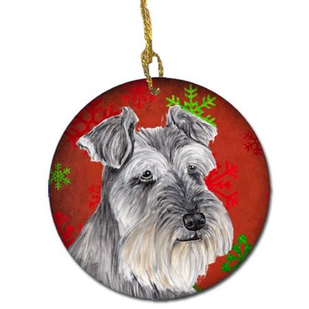 Christmas Treasure Box (Carolines Treasures SC9433-CO1 Schnauzer Red Snowflakes Holiday Christmas Ceramic Ornament )