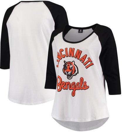 Cincinnati Bengals 5th   Ocean by New Era Women s Plus Size 3 4-Sleeve  Raglan T-Shirt - White Black - Walmart.com 0289df9f4