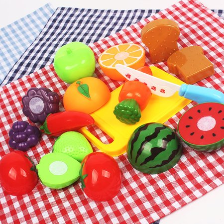Moaere 20Pcs Kitchen Toys Fun Cutting Fruits Vegetables Pretend Food Playset for Children Girls Boys - Boys Food
